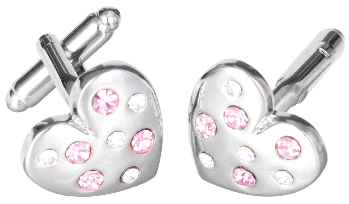 Запонки Mitya Veselkov 'Сердечки в стразах', цвет: серебряный, розовый. ZAP-133
