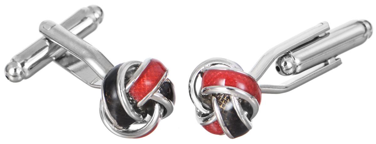 """Запонки Mitya Veselkov """"Узелки красные"""", цвет: серебряный, красный, черный. ZAP-130"""