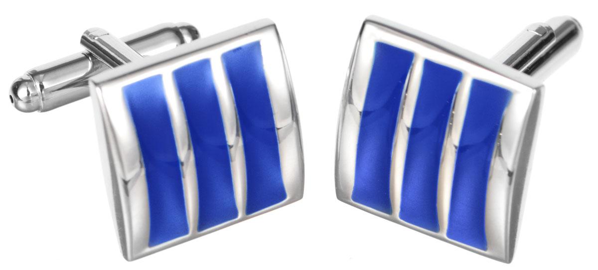 """Запонки Mitya Veselkov """"Классика с синими полосками"""", цвет: серебряный, синий. ZAP-228"""
