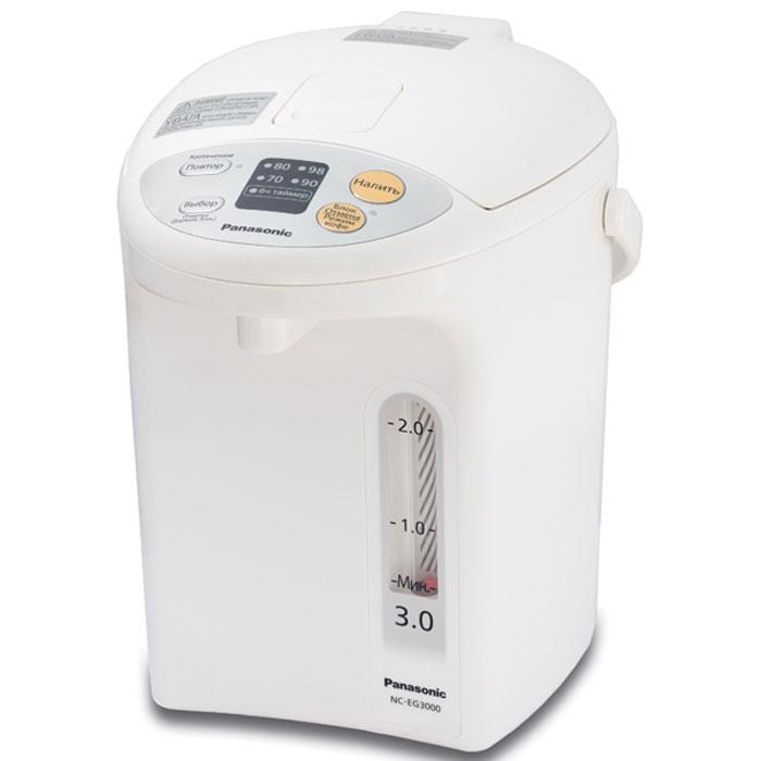 Panasonic NC-EG3000WTS термопотNC-EG3000WTSТермопот Panasonic NC-EG3000WTS оснащен специальным легкоочищаемым антипригарным угольным внутренним покрытием BINCO, что позволяет улучшить питьевые качества воды. Функция медленной подачи воды предназначена специально для приготовления кофе, а возможность длительного кипячения снизит содержание хлора в воде. Устройство имеет 4 температурных режима для различных целей: 70°С - для детского питания 80°С - для зеленого чая 90°С - для кофе 98°С - для чая, лапши 6-часовой энергосберегающий таймер Основание с поворотом термопота на 360° Блокировка дозатора