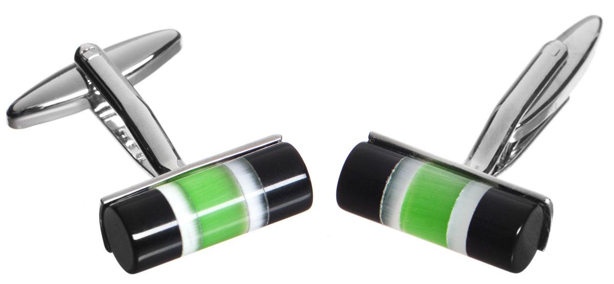Запонки Mitya Veselkov Цилиндры Черно-зеленые, цвет: серебряный, черный, зеленый. ZAP-210ZAP-210Стильные запонки Mitya Veselkov Цилиндры Черно-зеленые выполнены из бижутерийного сплава. Изделие оформлено в виде цилиндров, каждая запонка дополнена вставкой из цветного стекла. Изделие застегивается на вращающийся штырек. Стильный аксессуар подчеркнет ваш костюм, а также придаст элегантность и неповторимость имиджу. Запонки Mitya Veselkov - последний штрих, последняя маленькая точка в вашем облике.