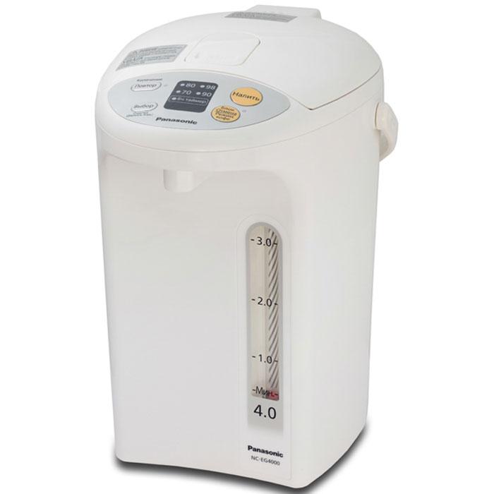 Panasonic NC-EG4000WTS термопотNC-EG4000WTSТермопот Panasonic NC-EG4000WTS оснащен специальным легкоочищаемым антипригарным угольным покрытием BINCO, что позволяет улучшить питьевые качества воды. Функция медленной подачи предназначена специально для приготовления кофе, а возможность длительного кипячения заметно снизит содержание хлора в нагреваемой воде. Устройство оснащено четырьмя температурным режимами: 70°С - для детского питания 80°С - для зеленого чая 90°С - для кофе 98°С - для чая, лапши Также конструкцией предусмотрен шестичасовой энергосберегающий таймер, блокировка дозатора и защита от перегрева. 6-часовой энергосберегающий таймер Основание с поворотом термопота на 360°