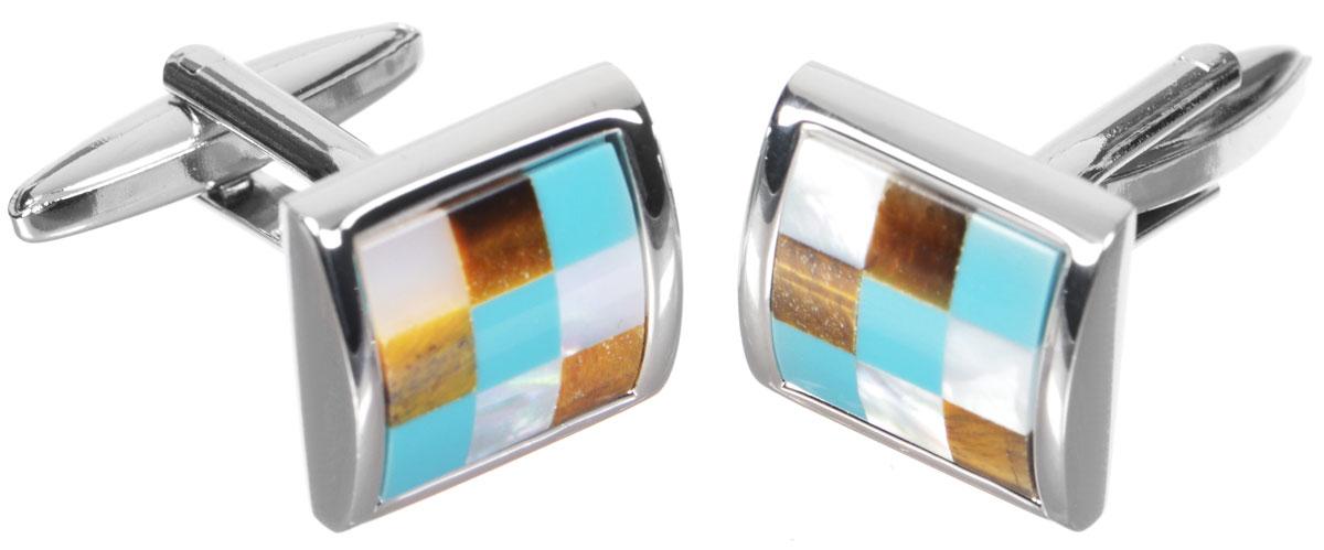 Запонки Mitya Veselkov 'Классика', цвет: серебряный, бирюзовый, коричневый. ZAP-225