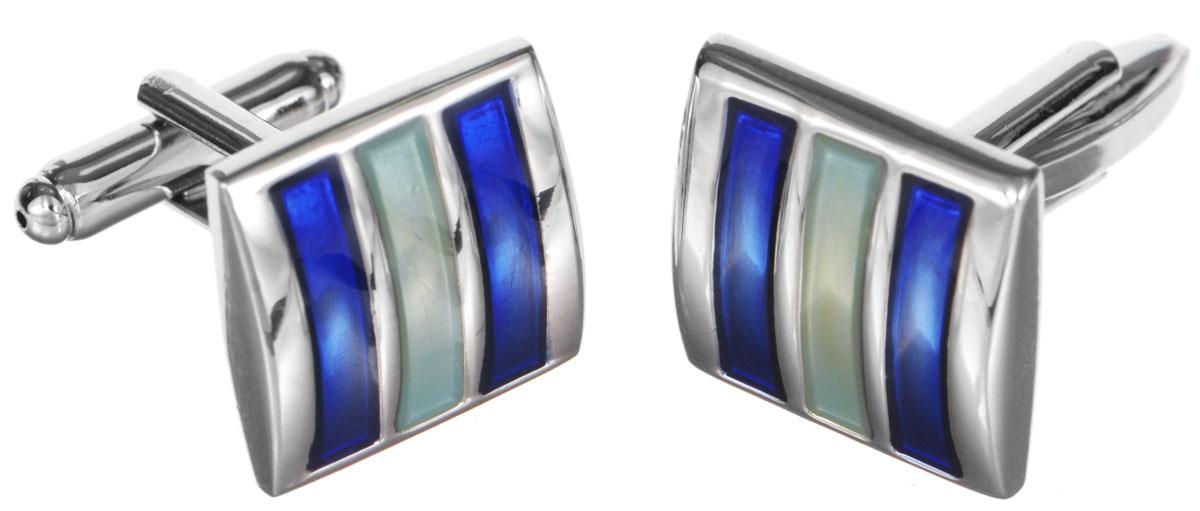 Запонки Mitya Veselkov 'Классика', цвет: серебряный, синий, бледно-зеленый. ZAP-227