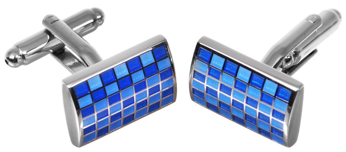 Запонки Mitya Veselkov Клетка, цвет: серебряный, синий, голубой. ZAP-240ZAP-240Запонки Mitya Veselkov Синяя клетка выполнены из бижутерийного сплава. Запонки классической формы дополнены цветными вставками из эмали. Изделие застегивается на вращающийся штырек Стильный аксессуар подчеркнет ваш образ, а также придаст элегантность и неповторимость имиджу.