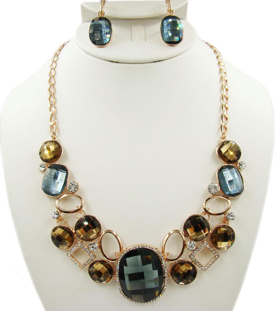 Комплект украшений Taya: колье, серьги, цвет: коричневый, серый, золотой. T-B-10259
