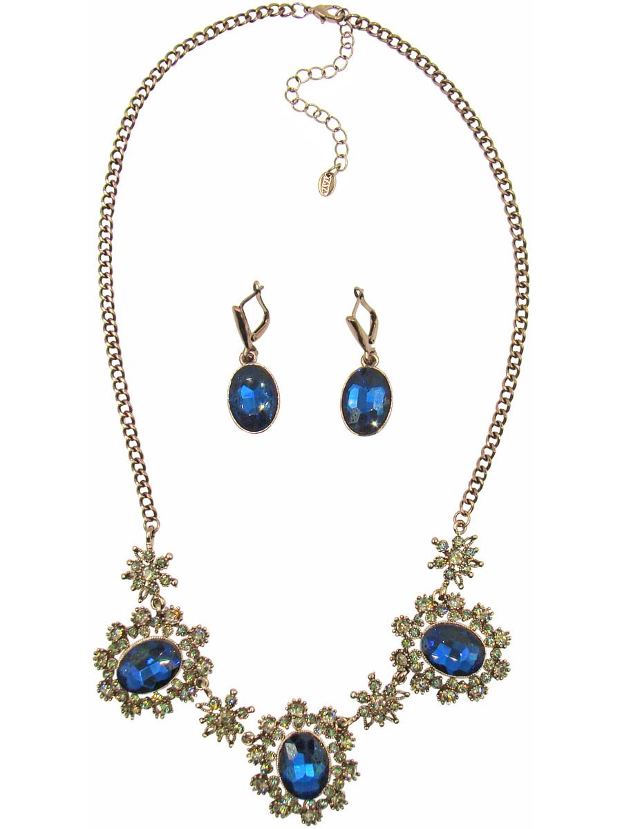 Комплект украшений Taya: колье, серьги, цвет: коричневый, темно-синий. T-B-10268