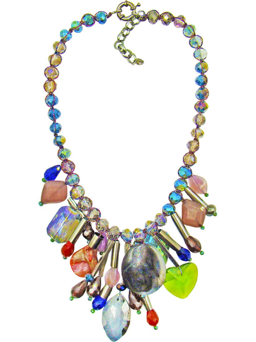 Колье Taya, цвет: синий, серый, лиловый. T-B-10321T-B-10321Колье Taya станет прекрасным дополнением к вашему наряду. Основу колье составляют стеклянные переливающиеся разными цветами бусины в оплетке из шелковой прочной нити. В центре украшения свисают подвески-столбики из металла со стразами каплевидной формы, искусственные камни и различной формы кристаллы. Модель застегивается на шпрингельную застежку, длина регулируется за счет дополнительных звеньев. Такое украшение поможет эффектно завершить образ, а также подчеркнет вашу индивидуальность.