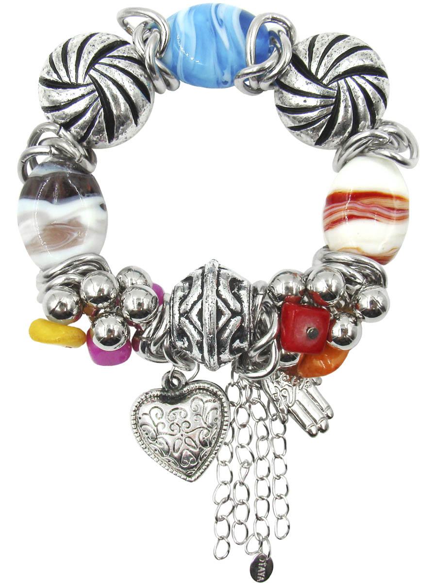Браслет Taya, цвет: серебристый, белый, синий, фуксия, коралловый. T-B-10332T-B-10332Оригинальный браслет Taya, изготовленный из гипоаллергенного материала, выполнен на эластичной основе из цветных стеклянных бусин, натурального камня и элементов из ювелирного сплава с покрытием под серебро. Модель дополнена стильными подвесками из металла в виде сердца и ладони с цепочками. Такой оригинальный браслет не оставит равнодушной ни одну любительницу изысканных и необычных украшений, а также позволит с легкостью воплотить самую смелую фантазию и создать собственный, неповторимый образ.