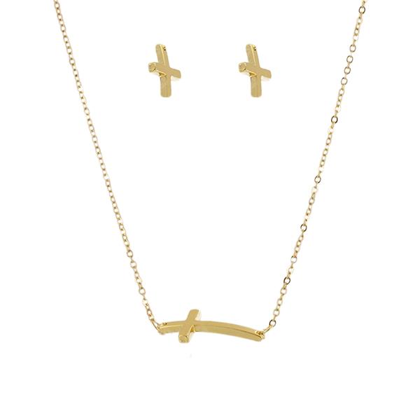 Комплект украшений Taya: подвеска, серьги, цвет: золотистый. T-B-4464 ( T-B-4464 )