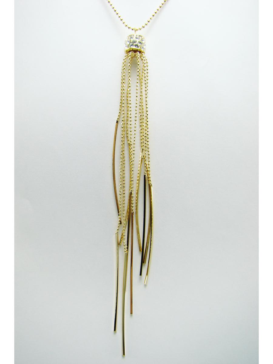 Подвеска Taya, цвет: золотистый. T-B-7113T-B-7113Стильная подвеска Taya выполнена из ювелирного сплава золотистого цвета. На мелкой цепи располагается кулон цилиндрической формы, украшенный стразами, вниз свисают цепочки с металлическими прутиками на концах. Очаровательная подвеска Taya поможет создать уникальный и запоминающийся образ.