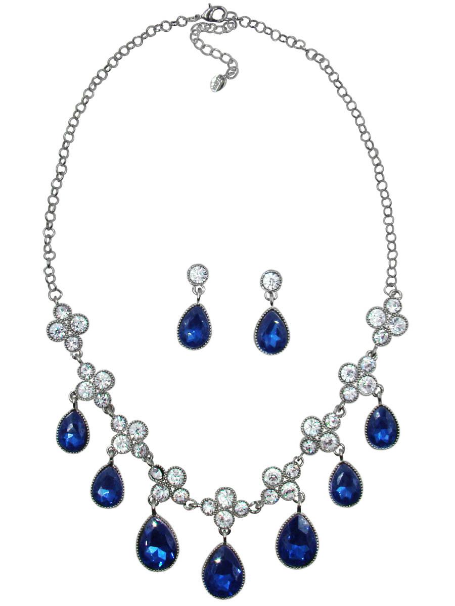 Комплект украшений Taya: колье, серьги, цвет: серебристый, темно-синий. T-B-10368