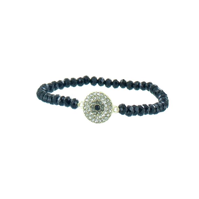 Браслет Taya, цвет: золотистый, черный. T-B-5533T-B-5533Изящный браслет Taya, изготовленный из гипоаллергенного материала, выполнен на эластичной основе из граненных стеклянных бусин и дополнен декоративным металлическим элементом круглой формы, инкрустированным стразами. Такой оригинальный браслет не оставит равнодушной ни одну любительницу изысканных и необычных украшений, а также позволит с легкостью воплотить самую смелую фантазию и создать собственный, неповторимый образ.