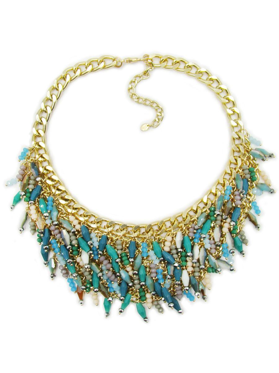 Колье Taya, цвет: золотистый, голубой, зеленый. T-B-9782T-B-9782Стильное колье Taya изготовлено из ювелирного сплава на основе латуни. Основой украшения является цепь с крупными звеньями. Центральная часть колье выполнена из большого количества подвесок. Есть подвески из трех мелких камней и подвески из ромбовидных кристаллов. Кристаллы в форме ромба не однотонные, их окрас меняется. Оттенки камушков очень нежные и женственные. Длина колье регулируется. Колье модного дизайна поможет создать уникальный и запоминающийся образ, а также подчеркнет вашу индивидуальность.