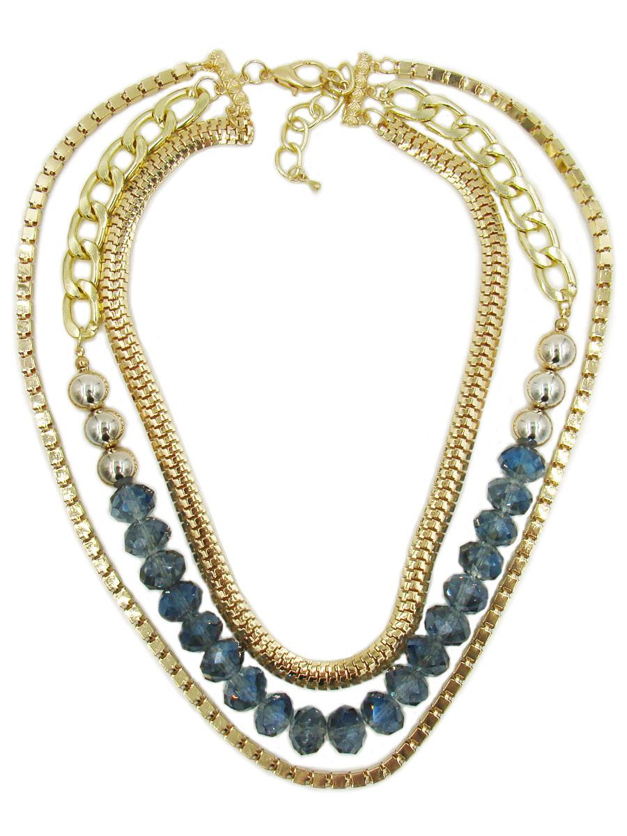 Колье Taya, цвет: золотистый, синий. T-B-9034T-B-9034Колье Taya изготовлено из ювелирного сплава с гальваническим покрытием. Такая методика обеспечивает отличное качество изделий и позволяет сохранить красоту украшений надолго. На специальные золотистые пластины с выделкой прикреплены цепи разной длины и плетения. Цепь средней длины с крупными звеньями дополнена бусинами из пластика и стекла. Изделие застегивается при помощи замка-карабина. Длина колье регулируется. Колье модного дизайна поможет создать уникальный и запоминающийся образ, а также подчеркнет вашу индивидуальность.
