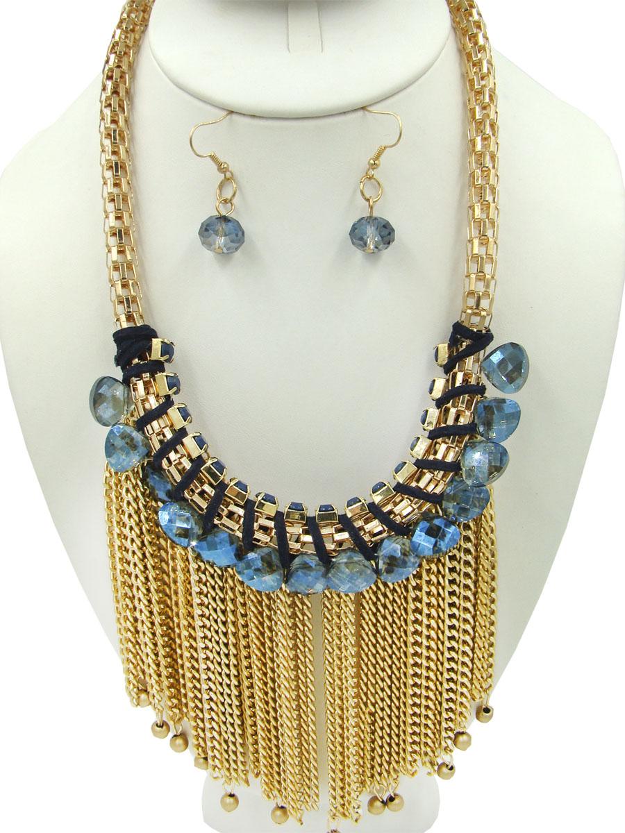 Комплект украшений Taya: колье, серьги, цвет: золотистый, синий. T-B-9025