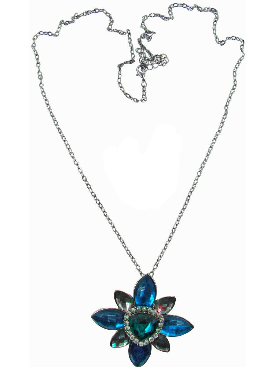 Комплект украшений Taya: подвеска, серьги, цвет: серый, темно-синий. T-B-10358