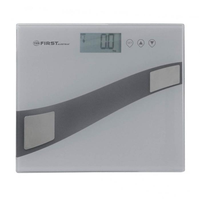 First 8006-1, Grey весы напольныеFA-8006-1 GreyСтильные напольные весы First 8006-1 помогут не только контролировать свой вес с точностью 100 грамм, но и станут еще одним атрибутом любого интерьера, так как имеют устойчивую и особо прочную стеклянную платформу. Корпус весов сверхтонкий, на нем расположен удобный жидкокристаллический дисплей. Весы имеют функцию памяти на 12 пользователей.