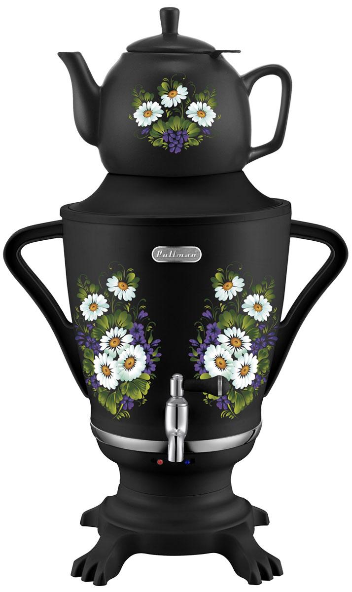Pullman PL-1029B, Black самовар-термопотPL-1029BСамовар-термопот Pullman PL-1029B является прекрасным решением для тех, кто любит устраивать себе перерывы в работе на чашечку чая или кофе. Пластиковый корпус с цветочным рисунком легко впишется в любой интерьер, а наличие керамического заварника объемом 0,8 л со съемным моющимся фильтром позволит сразу же заваривать чай. Прибор автоматически выключится по завершении работы, а также он защищен от перегрева.