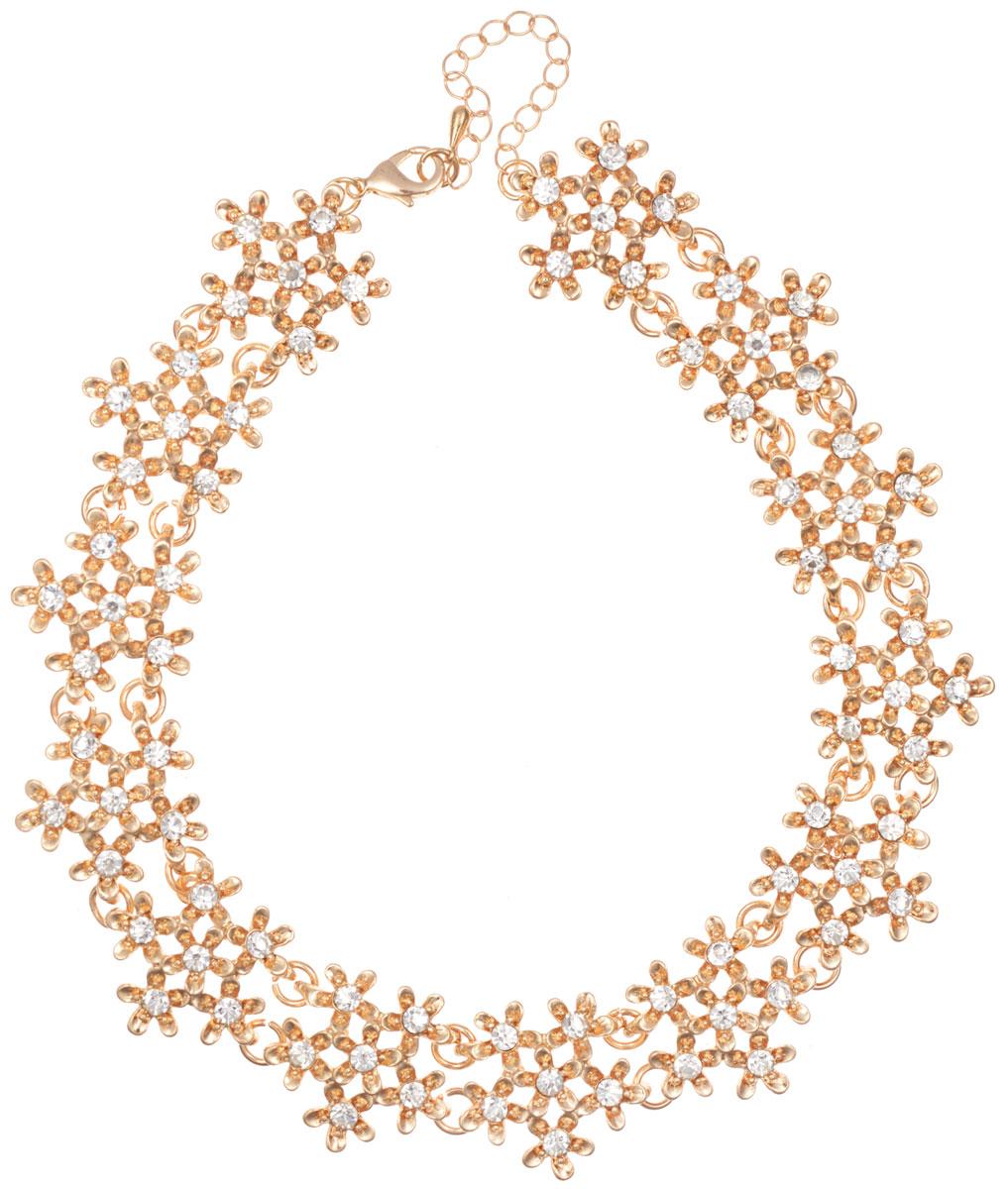 Ожерелье Taya, цвет: золотистый. T-BT-B-8976-NECK-GOLDЭлегантное ожерелье Taya, выполнено из бижутерийного сплава. Изделие состоит из элементов в форме цветков, скрепленных между собой и дополненных вставками из стеклянных стразов. Ожерелье застегивается на практичный замок-карабин, длина регулируется за счет дополнительных звеньев. Стильное ожерелье придаст вашему образу изюминку, подчеркнет индивидуальность.