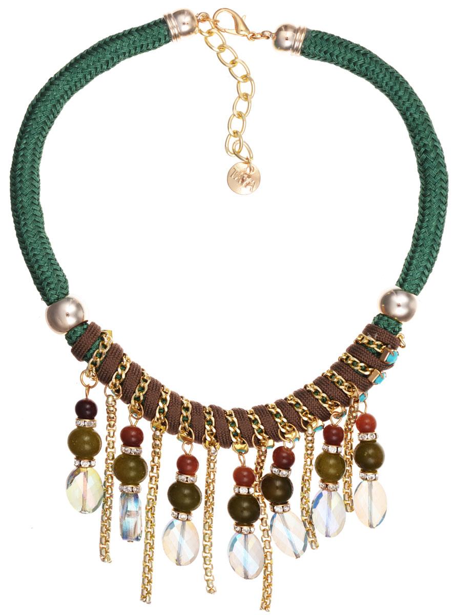 Колье Taya, цвет: зеленый, коричневый, золотой. T-B-9576T-B-9576-NECK-GREENЭлегантное колье Taya, выполнено в виде текстильной основы, которая оформлена элементами из бижутерийного сплава и стекла. Центральная часть изделия дополнена оригинальными подвесками с цепочками в объемном плетении и гранеными бусинами разных размеров и форм. Изделие застегивается на практичный замок-карабин, длина регулируется за счет дополнительных звеньев. Стильное колье придаст вашему образу изюминку, подчеркнет индивидуальность.