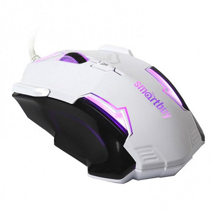 SmartBuy SBM-708G-WK, White Black проводная игровая мышьSBM-708G-WKПроводная оптическая мышь SmartBuy SBM-708G-WK с точным позиционированием курсора. Эргономичный дизайн и удобный захват, разработанные для понижения усталости кисти руки. Красивая пульсирующая подсветка. Правая боковая кнопка служит для плавного прицеливания в снайперском режиме. Контактные площадки (ножки) снижают трение до оптимального скольжения. Возможность переключения между четырьмя режимами DPI.