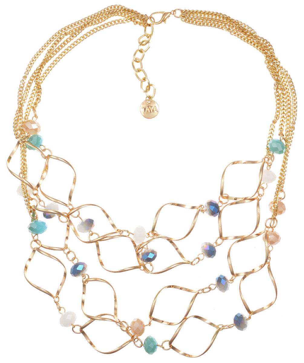 Колье Taya, цвет: золотистый, голубой, бежевый, серый. T-B-9967T-B-9967-NECK-GL.MULTIЭлегантное колье Taya, выполнено в виде четырех рядов цепочки из бижутерийного сплава. Центральная часть колье дополнена оригинальными элементами в форме спиралей, которые соединены между собой и дополнены гранеными бусинами из стекла. Колье застегивается на практичный замок-карабин, длина регулируется за счет дополнительных звеньев. Стильное колье придаст вашему образу изюминку, подчеркнет индивидуальность.