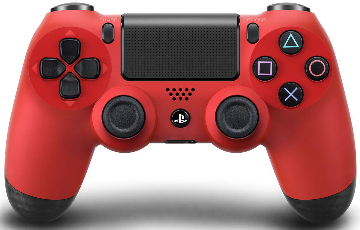 Беспроводной контроллер Dualshock 4 для PS4 (красный)THR47Контроллер нового поколения Dualshock 4 представляет собой большой шаг вперед в развитии игровых устройств управления.Форма, покрытие и чувствительность его парных аналоговых джойстиков создают ощущение полного контроля над процессом игры. Новая сенсорная панель с поддержкой нескольких одновременных касаний и функцией щелчка, открывающая доступ к новым способам игры. Световая панель оснащена тремя цветными индикаторами, облегчающими идентификацию игрока при совместной игре с использованием камеры PlayStation Camera. Встроенный динамик и стереофонический разъем открывают для пользователей новые возможности в области игрового звука. Кнопки Start и Select заменены кнопками Share и Options. Для управления в играх служат кнопки направлений, кнопки действий и боковые кнопки. Также добавлена сенсорная панель, аналогичная задней панели системы PS Vita, но поддерживающая функцию щелчка, полезную при навигации в меню. На обратной стороне контроллера ...
