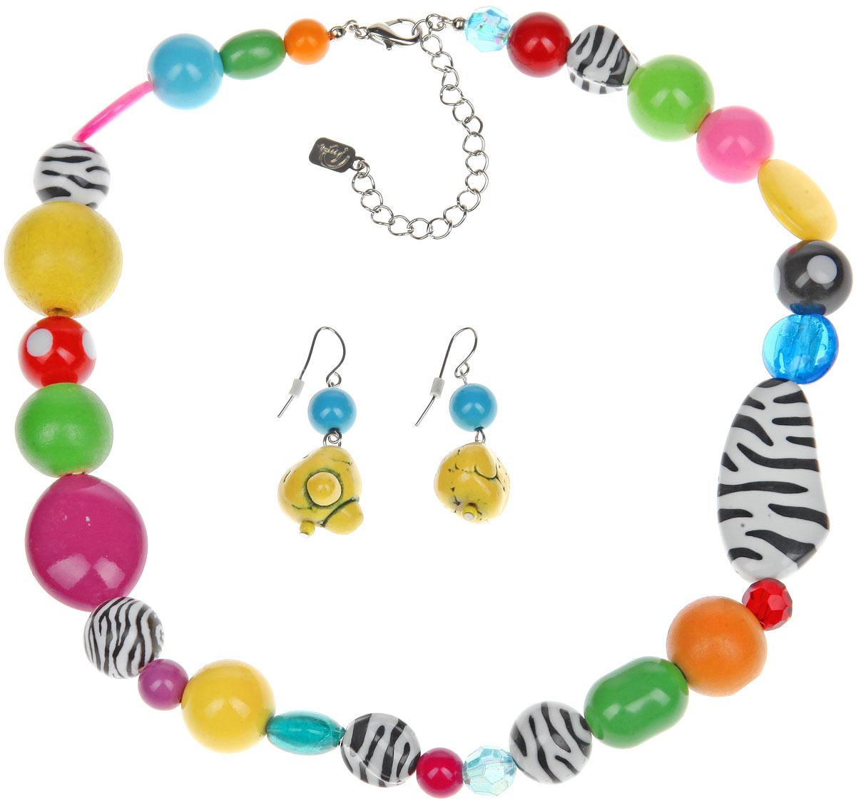 Комплект украшений Avgad: колье, серьги, цвет: оранжевый, желтый, зеленый. H-477S1019