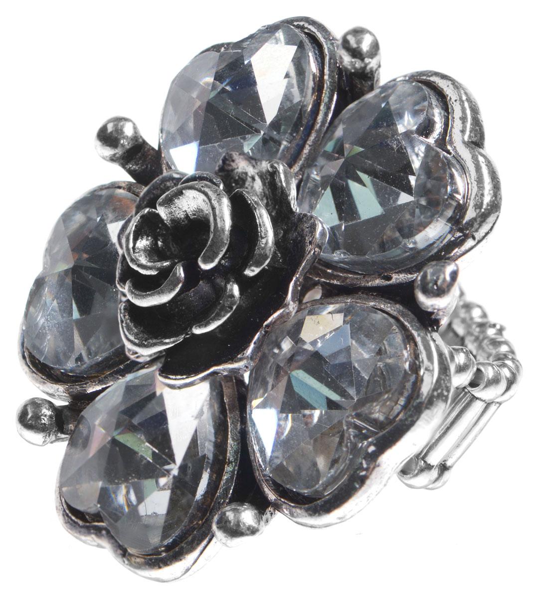 Кольцо Taya, цвет: серебристый. T-B-9263T-B-9263-RING-SILVERОригинальное кольцо Taya выполнено из бижутерийного сплава, дополнено декоративным элементом в виде цветка с лепестками-сердечками и сердцевиной в виде маленькой розочки. Лепестки цветка оформлены вставками из граненного стекла. В основании изделия использована эластичная резинка, что делает размер кольца универсальным. Стильное кольцо придаст вашему образу изюминку, подчеркнет индивидуальность.