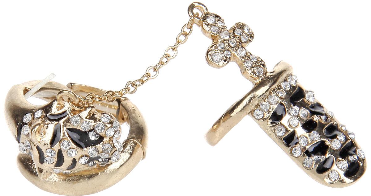 Кольцо Avgad, цвет: золотистый, черный. EA178JW265EA178JW265Оригинальное кольцо Avgad выполнено из ювелирного сплава и украшено стразами и эмалью. Элементы кольца соединены между собой с помощью тонкой резинки, благодаря которой его легко снимать и надевать. Размер универсальный. Кольцо состоит из двух частей, соединенных между собой тонкой цепочкой. Одна из частей в виде дуги, надевается на верхнюю фалангу пальца. Такое кольцо позволит вам с легкостью воплотить самую смелую фантазию и создать собственный, неповторимый образ.