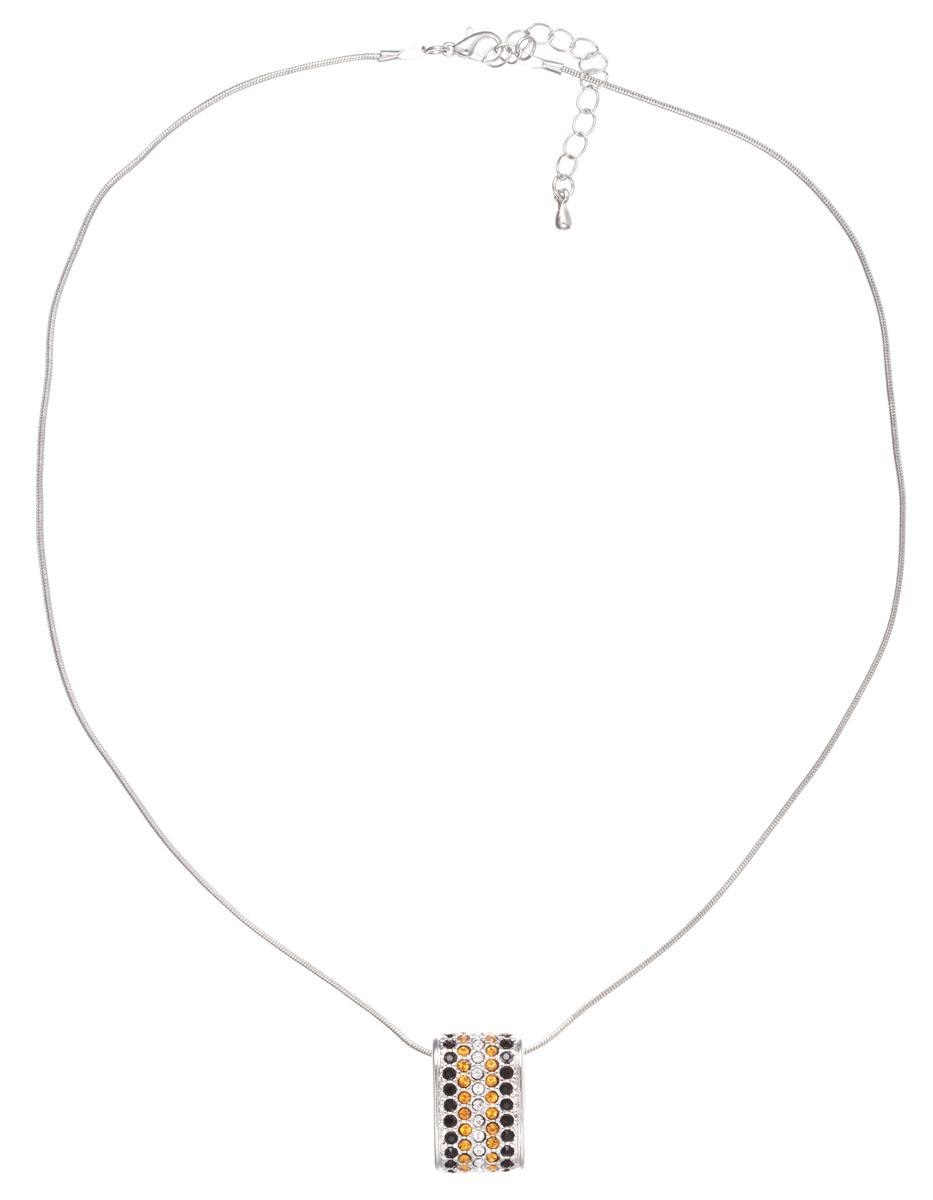 Кулон Jenavi Сальвия, цвет: серебряный, черный, желтый, белый. b3573970b3573970Оригинальный кулон Jenavi Сальвия, изготовленный из гипоаллергенного материала, представляет собой цепочку из ювелирного сплава с антиаллергическим покрытием черненым серебром, которая дополнена стильным декоративным элементом, инкрустированным стразами Swarowski и с обратной стороны гравировкой в виде названия бренда. Кулон застегивается на карабин и оснащен цепочкой для регулирования размера. Такой оригинальный кулон не оставит равнодушной ни одну любительницу изысканных и необычных украшений, а также позволит с легкостью воплотить самую смелую фантазию и создать собственный, неповторимый образ. Для того, чтобы украшение сохранило первозданный блеск, рекомендуется избегать взаимодействия с водой и химическими средствами.