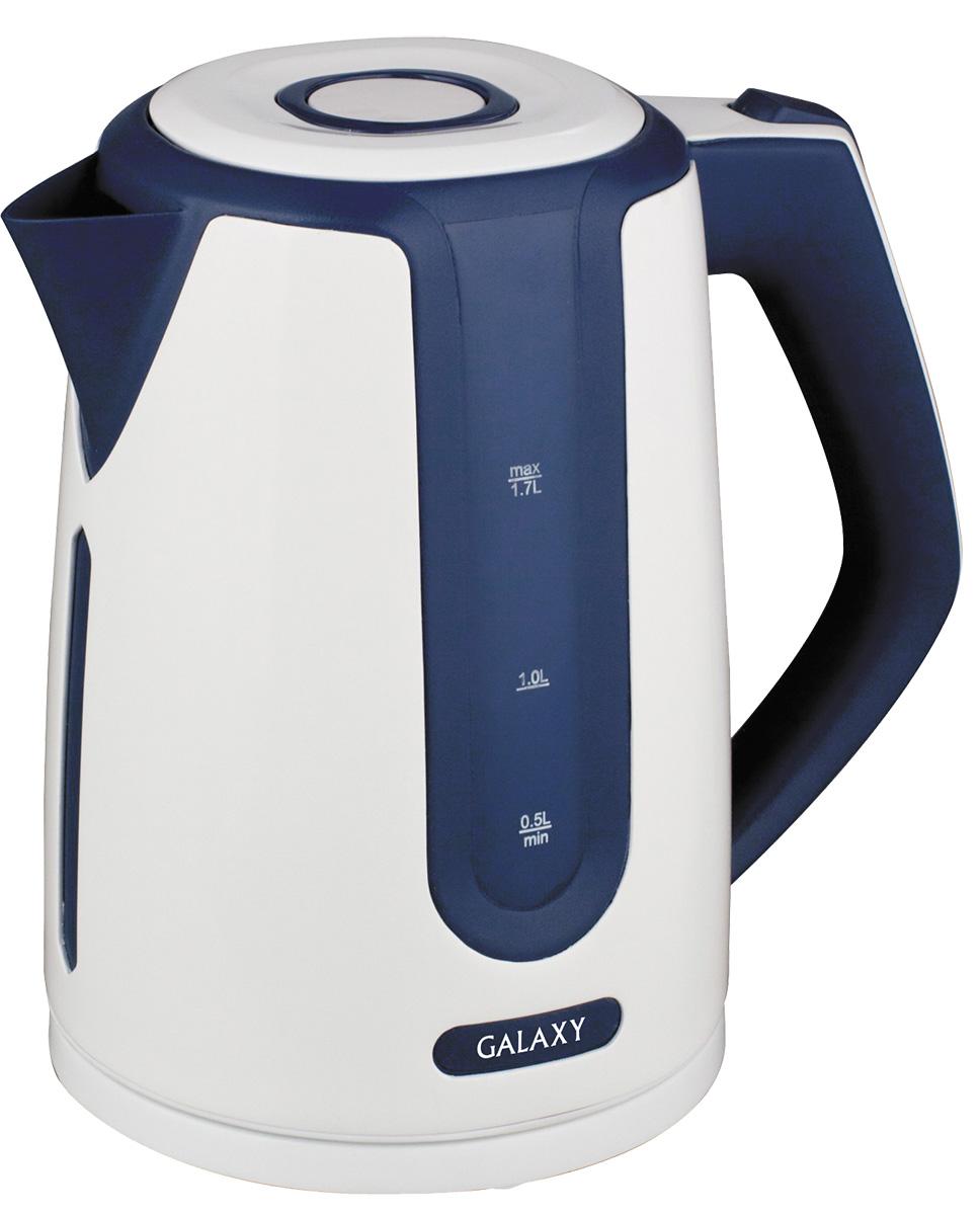 Galaxy GL0207, Blue White электрочайник4630003362308Удобный и простой в использовании электрочайник Galaxy GL0207 изготовлен из термостойкого пластика и впишется в любую современную кухню. Благодаря мощности в 2200 Вт и нагревательному элементу скрытого типа, быстро вскипятит воду объемом до 1,7 литров. На рынке бытовой техники этот прибор пользуется неизменной популярностью благодаря высокому качеству, безопасности и удобству в использовании. Модель оснащена индикатором включения/выключения, шкалой уровня воды и съемным фильтром против накипи. Цоколь с центральным контактом позволяет поворачивать прибор на 360°. В целях безопасности имеются функции блокировки включения без воды и автоматического отключения при закипании. Скрытый нагревательный элемент. Съемный фильтр