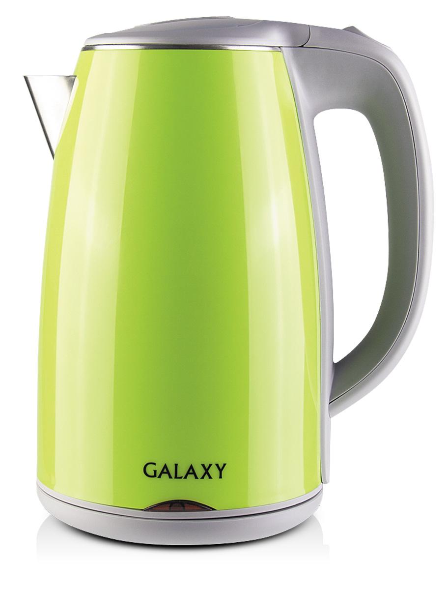 Galaxy GL0307, Green электрочайник4630003362490Электрочайник Galaxy GL0307 имеет элегантную форму и эргономичную ручку. Цветовая гамма чайника позволяет ему легко вписаться в любой интерьер. Главной особенностью представленной модели являются двойные стенки корпуса, что позволяет электрочайнику надолго задерживать тепло внутри себя. За нагрев отвечает спираль, которая создана из нержавеющей стали и изолирована у основания электрочайника. Данная серия имеет в своём арсенале все современные функции защиты, среди которых стоит выделить блокировку включения при недостаточном уровне воды и автовыключение при закипании, что делает Galaxy GL 0307 безопасным для регулярного использования. Скрытый нагревательный элемент Двойная стенка из нержавеющей стали 18/10 и пищевого пластика Силиконовые ножки для устойчивости Указатель максимального и минимального уровней воды