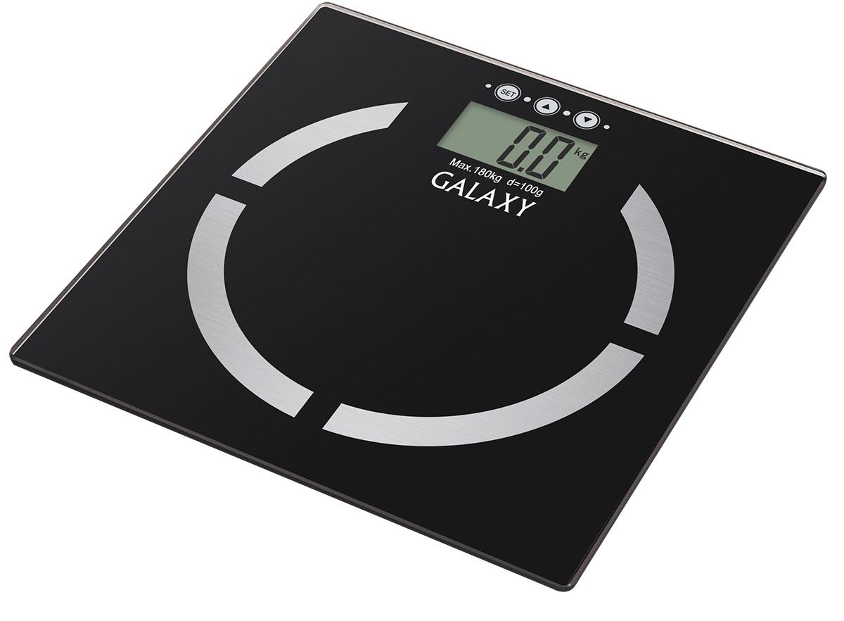 Galaxy GL4850, Black весы4630003364371Благодаря весам Galaxy GL4850 стало возможным не только узнать массу тела, но и вычислить соотношение жировой, мышечной, костной ткани, уровня жидкости в организме и индекса массы тела. Весь процесс измерения занимает буквально несколько секунд! Память измерений на 10 человек позволяет каждому члену семьи контролировать свои показатели. Платформа весов выполнена из высокопрочного немецкого стекла и с легкостью выдерживает большие нагрузки до 180 кг. Высокая точность показаний (100 г) позволяет следить даже за самыми незначительными изменения в весе. Весы располагают функцией автоматического отключения, что сохраняет заряд батареи как можно дольше. Сверхточная сенсорная система датчиков Платформа из высокопрочного стекла Индикация перегрузки Индикация низкого уровня заряда элементов питания Прорезиненные ножки