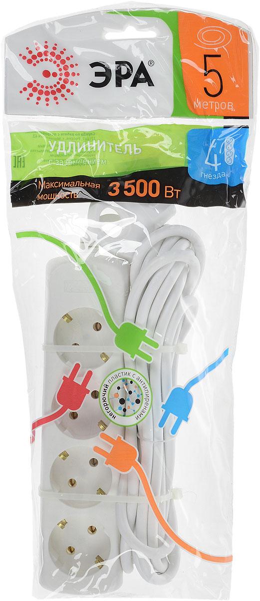 Удлинитель ЭРА U-4e-5m, с заземлением, 4 гнезда, 5 мU-4e-5mУдлинитель ЭРА U-4e-5m предназначен для удобного подключения к сети электроснабжения бытовой и компьютерной техники, позволяет подключить несколько потребителей к одной электрической розетке. Материал корпуса - негорючий пластик с антипиренами, устойчив к механическим повреждениям, соответствует требованиям пожаробезопасности. 3 медные жилы сечением 1 мм2 обеспечивают допустимую максимальную мощность нагрузки в 3500 Вт. Материал корпуса: полипропилен. Наличие заземляющего контакта: да. Напряжение номинальное: 220В / 50 Гц. Напряжение максимальное: 250 В. Сечение провода: 3 х 1 мм2.