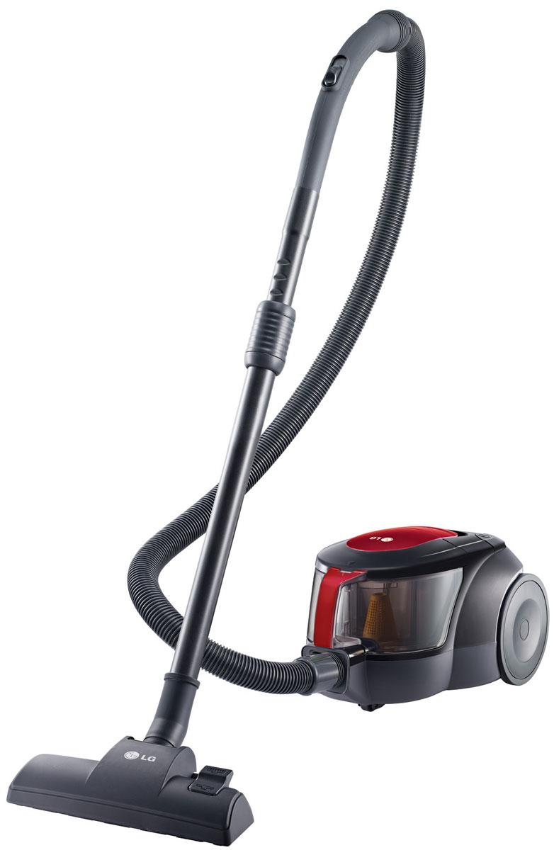 LG VK705W06N, Red Black пылесосVK705W06NПылесос без мешка для пыли LG VK705W06N обязательно сделает уборку вашего дома легче. Компактный дизайн безмешкового пылесоса LG обеспечивает лёгкое хранение. Мотор устройства позволяет значительно ускорить процесс уборки. Циклонный фильтр в форме эллипса тщательно отделяет воздух от пыли, создавая поток с мощной центробежной силой, которая концентрируется в узкой части эллипса и увеличивает мощность воздушного потока в его широкой части, что позволяет отделять даже микрочастицы пыли от воздуха. Комплект пылесоса LG VK705W06N оснащается насадками для различных поверхностей и щеткой для уборки пыли, а низкий уровень шума всего в 82 дБ позволит не беспокоить окружающих во время уборки.