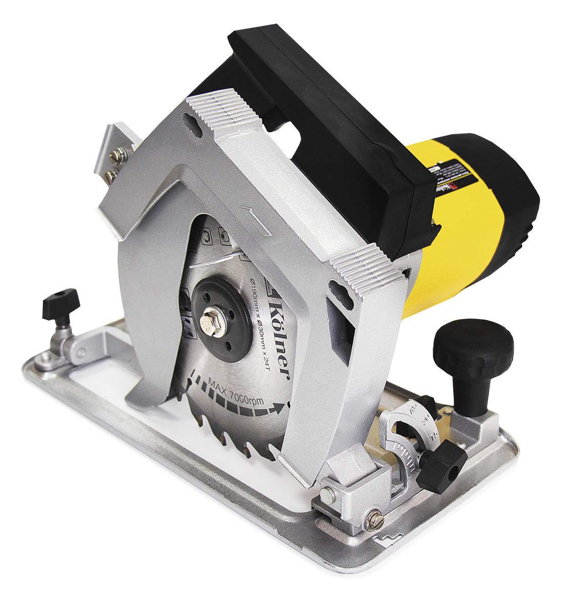 Пила дисковая ручная Kolner KCS 190/1900Ткн190-1900цсКомплектация: параллельный упор, расклинивающий нож, дополнительный защитный кожух, крепления для стационарной установки пилы, переходник для подключения пылесоса/мешка для сбора отходов, скоба-фиксатор выключателя при работе в стационарном режиме, угольные щетки, торцевой шестигранный ключ, ключ фланца