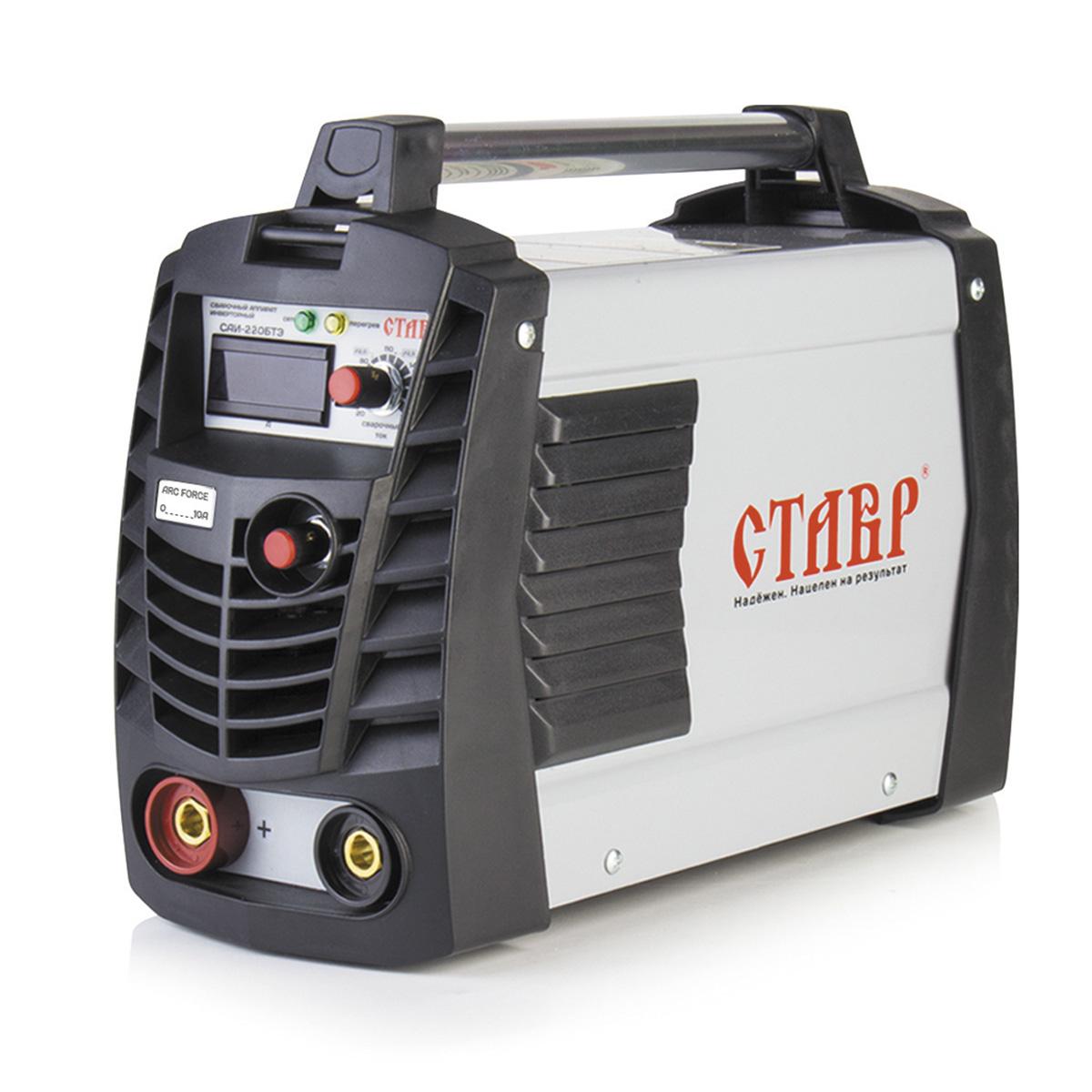 Сварочный аппарат инверторный Ставр САИ-220 БТЭст220бтэКомплектация - рабочий кабель (2мx20мм?) с электродержателем, кабель заземления (1мх20мм?) с клемой, сварочный щиток, металлическая щетка.