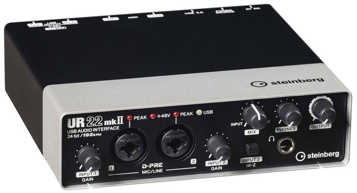 Steinberg UR22mkII аудиоинтерфейсSTEINBERG UR22mk2Steinberg UR22mkII - 2-канальный звуковой USB-интерфейс. В отличии от предыдущей версии, устройство располагает режимом Loopback под интернет-стриминг в реальном времени и функцией Class Compliant для подсоединения к iPad. Помимо этого, в набор входит приложение iOS Cubasis Light Edition. Аудиоинтерфейс предоставляет качество до 192 кГц, подключается посредством USB 2.0 шины, имеет MIDI вход/выход, два комбовхода (XLR / 1/4 TRS) с уже признанными в аудиоиндустрии высококлассными микрофонными предусилителями D-PRE от Yamaha, а также двумя основными линейными выходами. Steinberg UR22mkII заключен в цельнометаллический корпус, на лицевой стороне которого имеются два комбинированных входа Neutrik XLR / 1/4 TRS для подключения микрофонов и линейных источников, каждый с регулировкой усиления и индикатором пиков, плюс дополнительный переключатель Hi-Z на втором входе. Передняя панель также включает выход на наушники с отдельным регулятором громкости и...