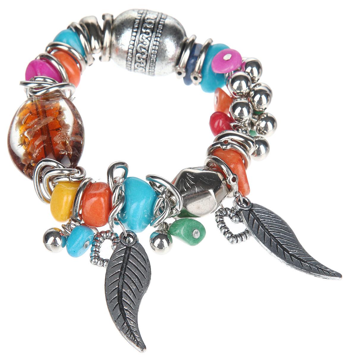 Браслет Taya, цвет: серебристый, коричневый, оранжевый, голубой. T-B-10339T-B-10339Оригинальный браслет Taya, изготовленный из гипоаллергенного материала, выполнен на эластичной основе из декоративных металлических элементов, цветных натуральных камней и элементов из стекла. Модель дополнена стильными подвесками из металла в виде двух перьев и сердец. Такой оригинальный браслет не оставит равнодушной ни одну любительницу изысканных и необычных украшений, а также позволит с легкостью воплотить самую смелую фантазию и создать собственный, неповторимый образ.