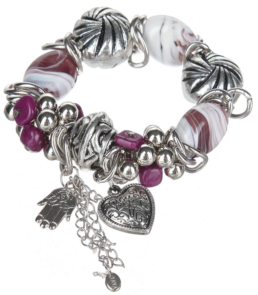 Браслет Taya, цвет: серебристый, белый, сиреневый, пурпурный. T-B-10335T-B-10335Оригинальный браслет Taya, изготовленный из гипоаллергенного материала, выполнен на эластичной основе из цветных стеклянных бусин, натурального камня и элементов из ювелирного сплава с покрытием под серебро. Модель дополнена стильными подвесками из металла в виде сердца и ладони с цепочками. Такой оригинальный браслет не оставит равнодушной ни одну любительницу изысканных и необычных украшений, а также позволит с легкостью воплотить самую смелую фантазию и создать собственный, неповторимый образ.