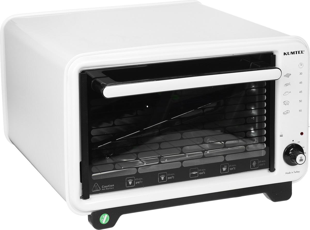 Kumtel KF 3000 D, White жарочный шкаф3000F KA OB RU 02Турецкая компания Kumtel предлагает широкий выбор мини-духовок для тех, кто любит готовить, но не имеет возможности установить полноценную духовку дома или на даче. Компактный жарочный шкаф Kumtel KF 3000 D белого цвета сэкономит пространство кухни и приготовит полезную, вкусную пищу быстро благодаря мощности 1300 Вт. Вместительная 32-литровая духовка изготовлена из современного жаропрочного материала, ухаживать за которым очень просто. Печь быстро набирает максимальную температуру. Данная электропечь является к тому же и долговечным изделием.
