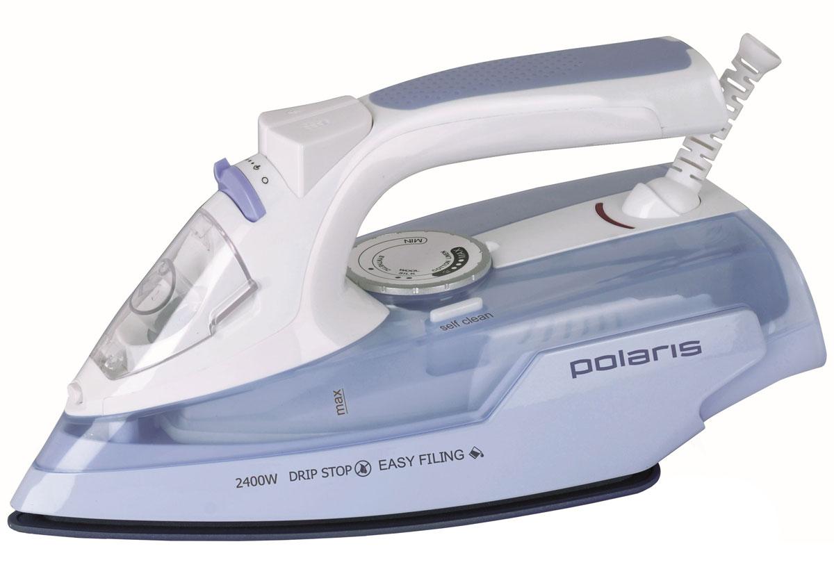 Polaris PIR 2466K, Lilac утюгPIR 2466KУтюг Polaris PIR 2466K отличается высокой функциональностью и приятным дизайном. Мощность в 2400 Вт обеспечивает быстрый нагрев и интенсивную подачу пара. Уникальная керамическая подошва Crystal Ceramic отлично скользит по ткани и безупречно разглаживает даже глубокие складки. Благодаря режиму вертикального отпаривания вы можете отглаживать вещи непосредственно на вешалке. Антикапельная система предотвращает возникновение мокрых разводов на одежде и позволяет гладить деликатные ткани при низкой температуре. Утюг не нуждается в требовательном уходе - прибор оснащен системой самоочистки и защитой от накипи. За счет свободного вращения шнура провод не перекручивается и не мнет ткань. Благодаря большому удобному входному отверстию вода легко и быстро заливается во внутренний резервуар объемом 350 мл.
