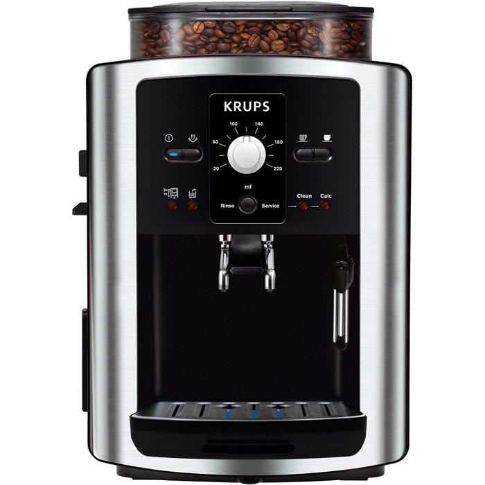 Krups EA8010PE Compact Espresseria кофемашинаEA8010Krups EA8010PE Compact Espresseria - кофемашина, оснащенная встроенной кофемолкой. Вместимость емкости для воды составляет 1800 мл, для зерен – 275 г, поэтому кофемашина хорошо подходит для тех, кто любит выпивать несколько чашек кофе в день. Вы можете воспользоваться встроенным автоматическим капучинатором, который взобьет воздушную молочную пену для вашего напитка. Krups EA8010PE обеспечивает 3 степени помола кофейных зерен, чтобы вы могли выбирать желаемую насыщенность вкуса и аромата. Кроме того, перед приготовлением напитка вы можете задать желаемую крепость, температуру и объем порции кофе. Отходы от приготовления кофе собираются в отдельный контейнер, поэтому кофемашину не придется очищать после каждого использования. Функция самоочистки от накипи продлевает срок службы прибора и упрощает уход за ним. Емкость контейнера для зерен: 275 г Контейнер для отходов Одновременное приготовление двух чашек Автоматическая...