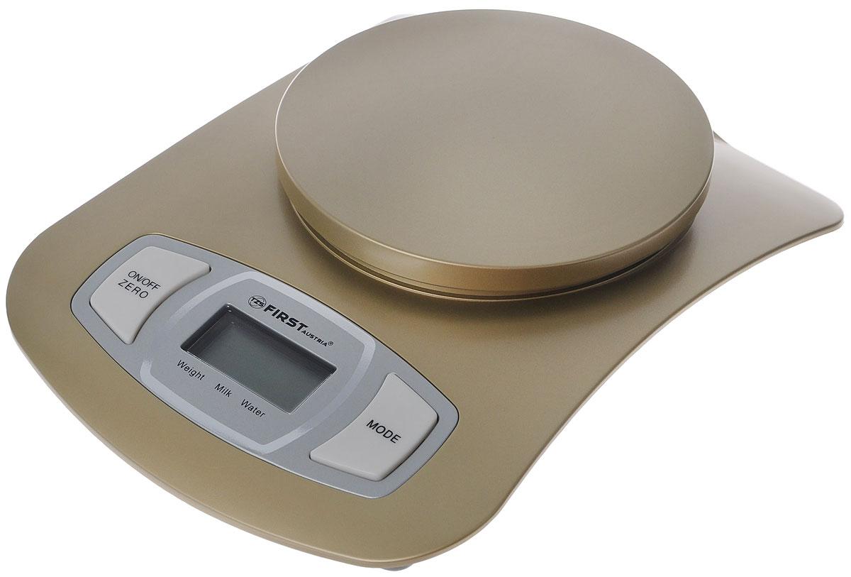 First 6401, Сhampagne весы кухонныеFA-6401 ShampagneЭлектронные кухонные весы First 6401 придутся по душе каждой хозяйке и станут незаменимым аксессуаром на кухне. Корпус весов выполнен из пластика с цифровым ЖК-дисплеем. Весы выдерживают до 5 килограмм. С помощью таких электронных весов можно точно контролировать пропорции ингредиентов.