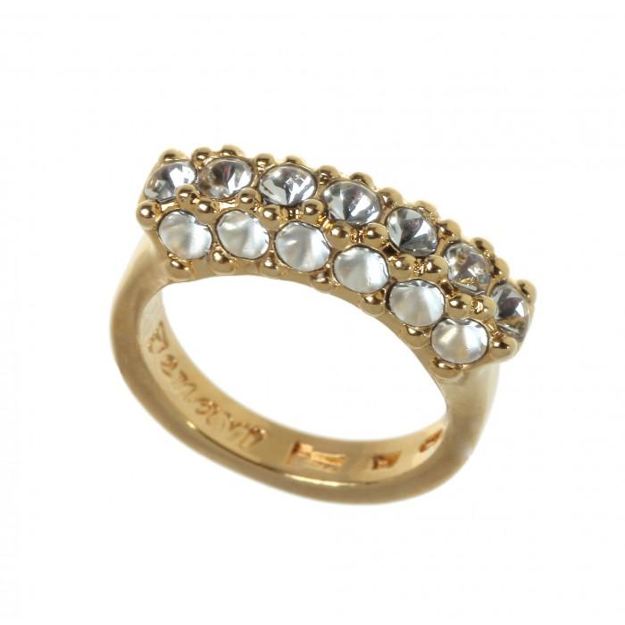 Кольцо Jenavi Буисон, цвет: золотистый, белый. Размер 21j716p000Стильное кольцо Jenavi Буисон выполнено из ювелирного сплава с антиаллергическим гальваническим покрытием позолотой. Декоративный элемент в три ряда оформлен белыми кристаллами Swarovski. Изящное кольцо придаст вашему образу изюминку и подчеркнет индивидуальность.