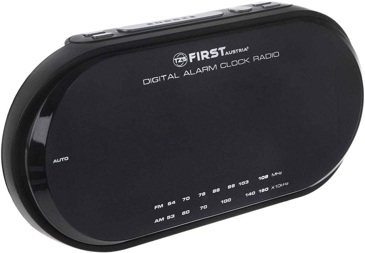First 2409-1-RF, Black радиочасыFA-2409-1-RF BlackFirst 2409-1-RF - радиочасы с LED-дисплеем диагональю 1,8 дюйма. Устройство имеет кварцевый стабилизатор, а также различные дополнительные функции: подъем под музыку или звонок, диммер, двойной будильник, календарь, а также таймер отключения до 1 ч. 59 мин. Яркость подсветки устройства вы можете регулировать по своему вкусу. Также можно активировать отложенный сигнал на 8 минут, чтобы поспать еще немного времени.