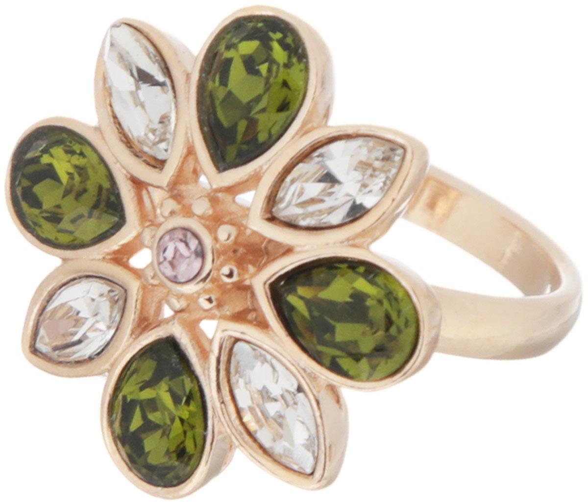 Кольцо Jenavi Фтия, цвет: золотистый, зеленый, прозрачный. Размер 17k321p070Яркое кольцо Jenavi Фтия изготовлено из ювелирного сплава с антиаллергическим гальваническим позолоченным покрытием. Декоративный элемент в виде цветка из чередующихся кристаллов Swarovski придает ему праздничный вид. Изысканное цветовое решение и оригинальный дизайн этого кольца не позволят вам остаться незамеченными.