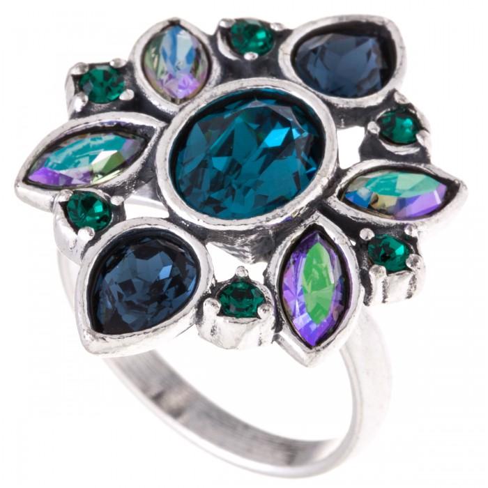 """Кольцо Jenavi """"Кангра"""", цвет: серебристый, бирюзовый. Размер 19"""